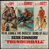 8r034 THUNDERBALL 6sh 1965 art of Sean Connery as James Bond by Robert McGinnis & Frank McCarthy!