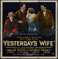 8r035 YESTERDAY'S WIFE 6sh 1923 stone litho, a tense drama of love & ideals shattered by wealth!