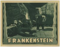 8r002 FRANKENSTEIN LC R1938 Dwight Frye as Fritz holding torch by chained monster Boris Karloff!