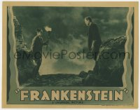 8r003 FRANKENSTEIN LC R1938 best c/u Colin Clive staring at his monstrous creation Boris Karloff!