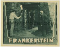 8r004 FRANKENSTEIN LC R1938 Colin Clive & Edward Van Sloan stare at monster Boris Karloff, rare!