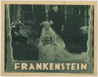 8r005 FRANKENSTEIN LC R1938 best close up of Boris Karloff as the monster behind bride Mae Clarke!