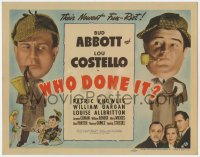 8r017 WHO DONE IT TC 1942 detectives Bud Abbott & Lou Costello with Sherlock hats & pipes, rare!