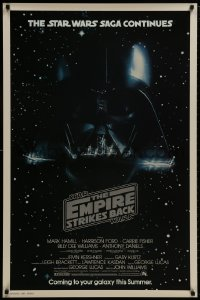 8s011 EMPIRE STRIKES BACK studio style advance 1sh 1980 George Lucas, Darth Vader head in space!
