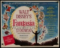 8s015 FANTASIA 1/2sh R1963 great image of Mickey Mouse & others, Disney musical cartoon classic!