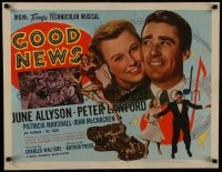 8s017 GOOD NEWS style B 1/2sh 1947 June Allyson & Peter Lawford + football players, ultra rare!