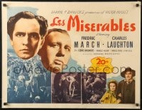 8s018 LES MISERABLES 1/2sh R1946 Fredrich March as Jean Valjean, Charles Laughton as Jalvert