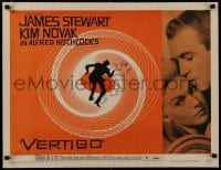 8s020 VERTIGO style A 1/2sh 1958 Hitchcock, James Stewart & Kim Novak by Saul Bass' wonderful art!