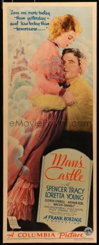 8s024 MAN'S CASTLE insert 1933 full-length Spencer Tracy embracing pretty Loretta Young, very rare!