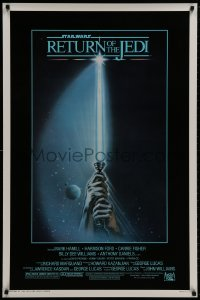 8s009 RETURN OF THE JEDI 1sh 1983 George Lucas, art of hands holding lightsaber by Reamer!