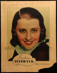 8s031 BARBARA STANWYCK personality poster 1930s smiling portrait of the Warner Bros. leading lady!
