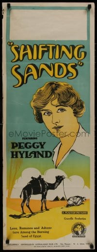 8t049 SHIFTING SANDS long Aust daybill 1923 Peggy Hyland, different art, pyramids and camel!