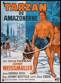 8t015 TARZAN & THE AMAZONS Danish R1970s Johnny Weissmuller, Brenda Joyce, Sheffield, Wenzel art!