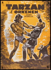8t016 TARZAN'S DESERT MYSTERY Danish R1960s art of Johnny Weissmuller fighting bad guy & Cheetah!