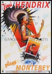 8t091 JIMI PLAYS MONTEREY German 1987 great close up of Hendrix playing guitar & singing by Harlin!
