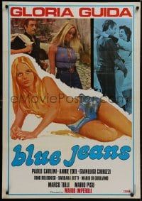 8t051 BLUE JEANS Lebanese 1975 images and art of sexy topless blonde Gloria Guida!