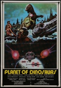 8t058 PLANET OF DINOSAURS Lebanese 1978 X-Wings & Millennium Falcon art from Star Wars by Tino Aller