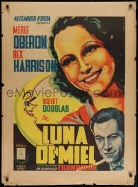 8t005 OVER THE MOON Mexican poster 1940 Merle Oberon, Harrison, Juan Antonio Vargas Ocampo art!