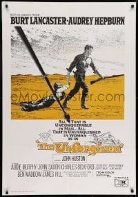 8t013 UNFORGIVEN South African 1960 Frank McCarthy art of Burt Lancaster & Audrey Hepburn, John Huston