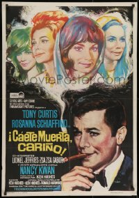 8t073 ARRIVEDERCI, BABY Spanish 1967 Tony Curtis is a ladykiller, great wacky Stevenov bomb art!