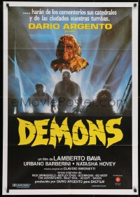 8t076 DEMONS Spanish 1987 Dario Argento, Enzo Sciotti artwork of shadowy monster people!