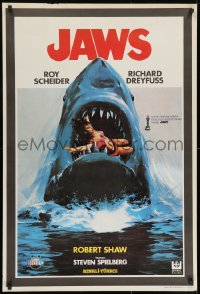 8t035 JAWS Turkish 1981 best different art of classic man-eating shark with sexy girl in mouth!