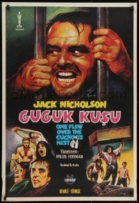 8t036 ONE FLEW OVER THE CUCKOO'S NEST Turkish 1981 Jack Nicholson, wild misleading artwork!