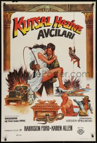 8t037 RAIDERS OF THE LOST ARK Turkish 1983 cool completely different art of Harrison Ford by Muz!