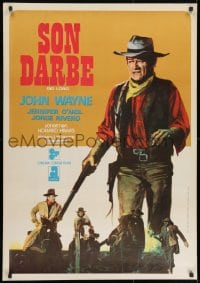 8t038 RIO LOBO Turkish 1972 Howard Hawks, cool different artwork of John Wayne!