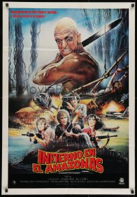 8t008 CUT & RUN Venezuelan 1985 Ruggero Deodato, cool completely different bloody art!