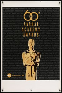 8w001 60TH ANNUAL ACADEMY AWARDS 1sh 1988 cool image of Oscar statue!