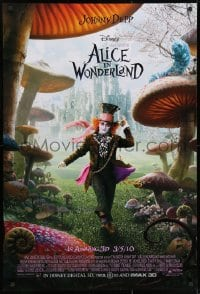 8w032 ALICE IN WONDERLAND advance DS 1sh 2010 Johnny Depp as the Mad Hatter surrounded by mushrooms