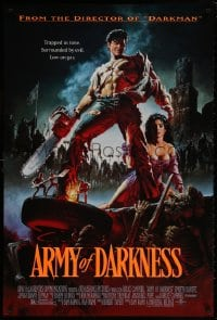 8w053 ARMY OF DARKNESS DS 1sh 1993 Sam Raimi, great artwork of Bruce Campbell with chainsaw hand!