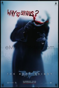 8w205 DARK KNIGHT teaser DS 1sh 2008 cool image of Heath Ledger as the Joker, why so serious?