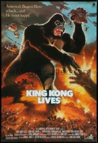 8w485 KING KONG LIVES 1sh 1986 great artwork of huge unhappy ape attacked by army!