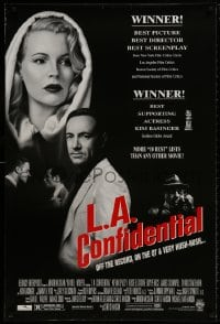 8w490 L.A. CONFIDENTIAL awards DS 1sh 1997 Kim Basinger in black and white hood, Spacey, more!