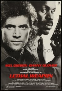 8w520 LETHAL WEAPON 1sh 1987 great close image of cop partners Mel Gibson & Danny Glover!