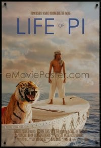 8w522 LIFE OF PI style A int'l DS 1sh 2012 Suraj Sharma, Irrfan Khan, cool image of tiger
