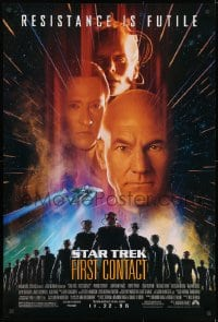8w848 STAR TREK: FIRST CONTACT advance 1sh 1996 Jonathan Frakes, Stewart, Spiner, sexy Borg Krige!