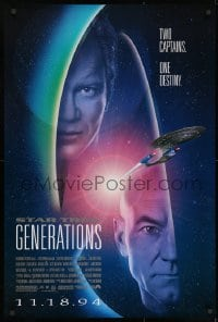 8w851 STAR TREK: GENERATIONS advance 1sh 1994 Stewart as Picard & Shatner as Kirk, two captains!