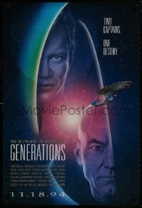 8w853 STAR TREK: GENERATIONS int'l advance 1sh 1994 Stewart as Picard, Shatner as Kirk, two captains!