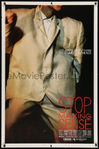 8w862 STOP MAKING SENSE 1sh 1984 Jonathan Demme, Talking Heads, close-up of David Byrne's suit!