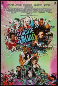 8w867 SUICIDE SQUAD advance DS 1sh 2016 Smith, Leto as the Joker, Robbie, Kinnaman, cool art!