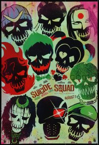 8w868 SUICIDE SQUAD teaser DS 1sh 2016 Smith, Leto as the Joker, Robbie, Kinnaman, cool art!