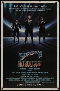 8w870 SUPERMAN II teaser 1sh 1981 Christopher Reeve, Terence Stamp, great image of villains!