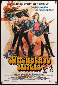 8w874 SWITCHBLADE SISTERS 1sh R1996 sexy bad girl gang with guns, great vintage-style art!