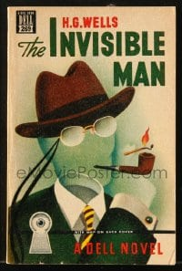 8x311 INVISIBLE MAN paperback book 1949 H.G. Wells sci-fi novel with map on the back cover!