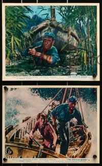 9a063 AFRICAN QUEEN 8 color English FOH LCs R1960s Huston's classic, images of Hepburn & Bogart!