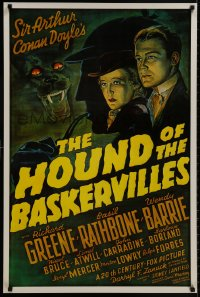 9g708 HOUND OF THE BASKERVILLES 24x37 1sh R1975 Sherlock Holmes, artwork from the original poster!