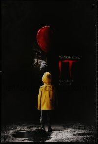 9g733 IT teaser DS 1sh 2017 creepy image of Pennywise handing child balloon, you'll float too!